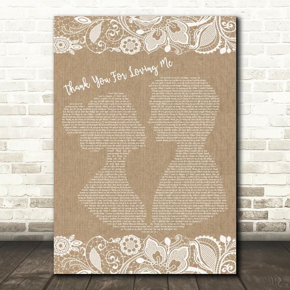 Bon Jovi Thank You For Loving Me Burlap & Lace Song Lyric Quote Print