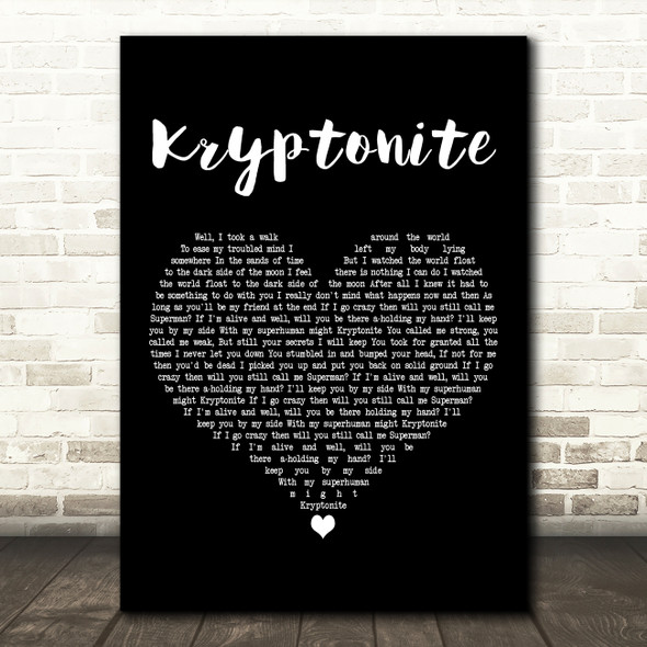 3 Doors Down Kryptonite Black Heart Decorative Wall Art Gift Song Lyric Print