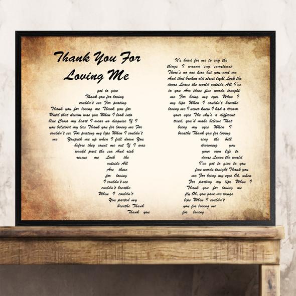 Bon Jovi Thank You For Loving Me Man Lady Couple Song Lyric Quote Print