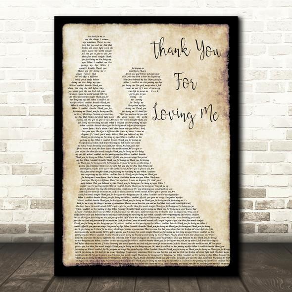Bon Jovi Thank You For Loving Me Man Lady Dancing Song Lyric Quote Print