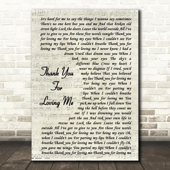 Bon Jovi Thank You For Loving Me Vintage Script Song Lyric Quote Print