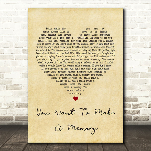 Bon Jovi You Want To Make A Memory Vintage Heart Song Lyric Quote Print