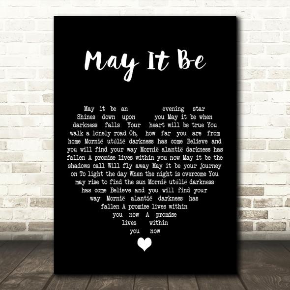 Enya May It Be Black Heart Decorative Wall Art Gift Song Lyric Print