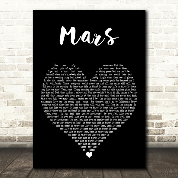 YUNGBLUD Mars Black Heart Decorative Wall Art Gift Song Lyric Print