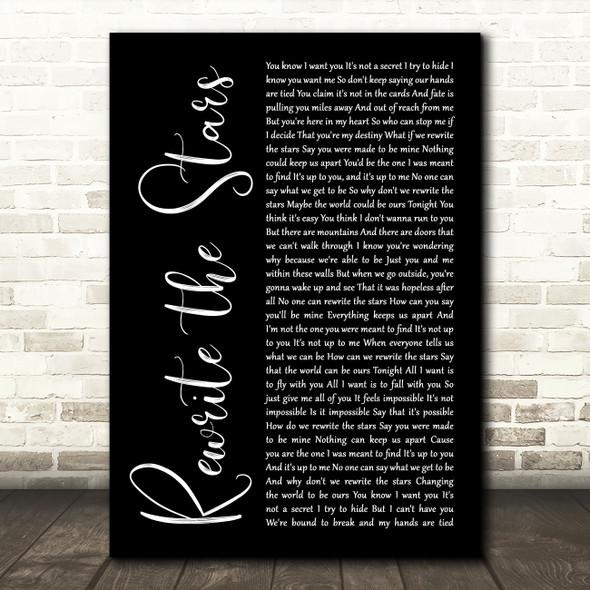 Zac Efron, Zendaya - GREATEST SHOWMAN Rewrite the Stars Black Script Wall Art Gift Song Lyric Print