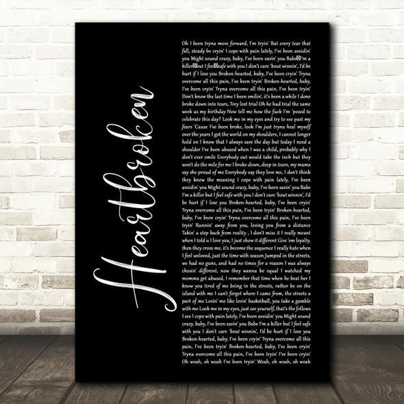 Yungeen Ace Heartbroken Black Script Decorative Wall Art Gift Song Lyric Print