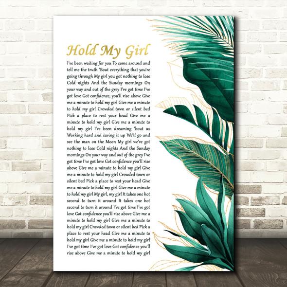 George Ezra Hold My Girl Gold Green Botanical Leaves Side Script Wall Art Gift Song Lyric Print