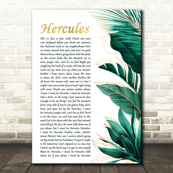Aaron Neville Hercules Gold Green Botanical Leaves Side Script Gift Song Lyric Print