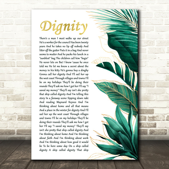 Deacon Blue Dignity Gold Green Botanical Leaves Side Script Song Lyric Print
