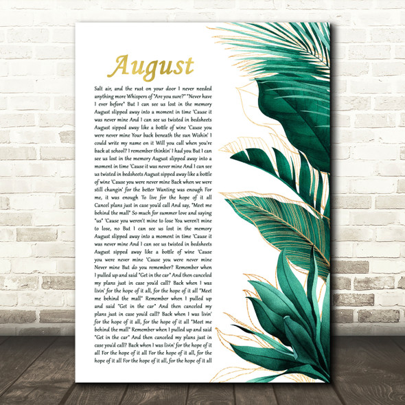 Taylor Swift August Gold Green Botanical Leaves Side Script Song Lyric Print