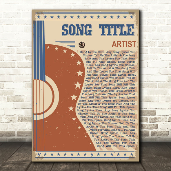 Country Western Festival Guitar Any Song Lyric Personalised Music Wall Art Print