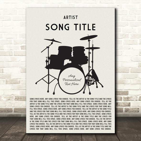 Drum Kit Black Any Song Lyric Personalised Music Wall Art Print