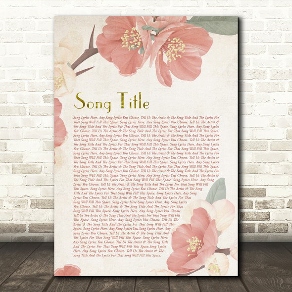 Dusky Pink Floral Script Any Song Lyric Personalised Music Wall Art Print