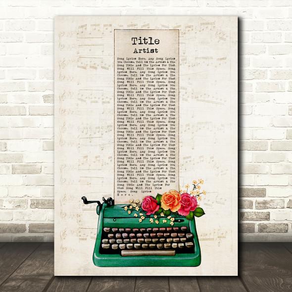 Green Floral Typewriter Vintage Chic Any Song Lyric Personalised Music Art Print