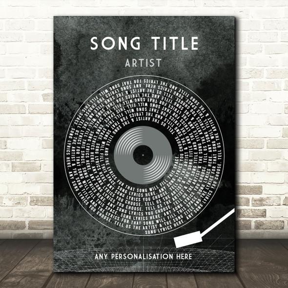 Grunge Grey Vinyl Record & Needle Any Song Lyric Personalised Music Art Print