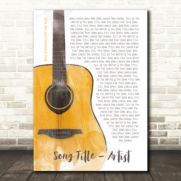 Acoustic Guitar Watercolour Any Song Lyric Personalised Music Wall Art Print