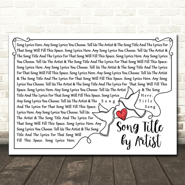 Line Art Doves & Heart Any Song Lyric Personalised Music Wall Art Print
