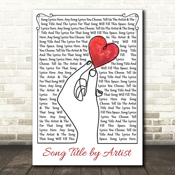 Line Art Hand & Heart Any Song Lyric Personalised Music Wall Art Print