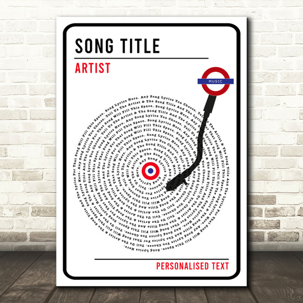 London Sign Style Vinyl Record Any Song Lyric Personalised Music Wall Art Print