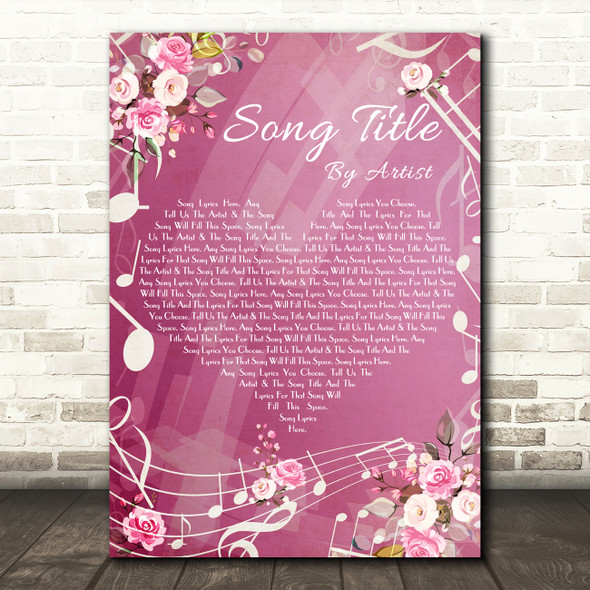 Pink Floral Music Notes Heart Any Song Lyric Personalised Music Wall Art Print