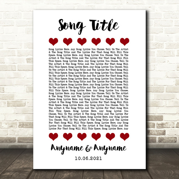 Red Hearts In Row Any Song Lyric Personalised Music Wall Art Print