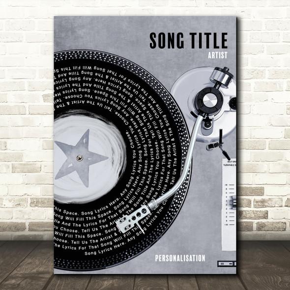 Rustic Grey Blue Half Vinyl Record Any Song Lyric Personalised Music Art Print
