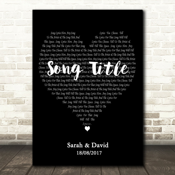 Simple Heart Black & White Any Song Lyric Personalised Music Wall Art Print
