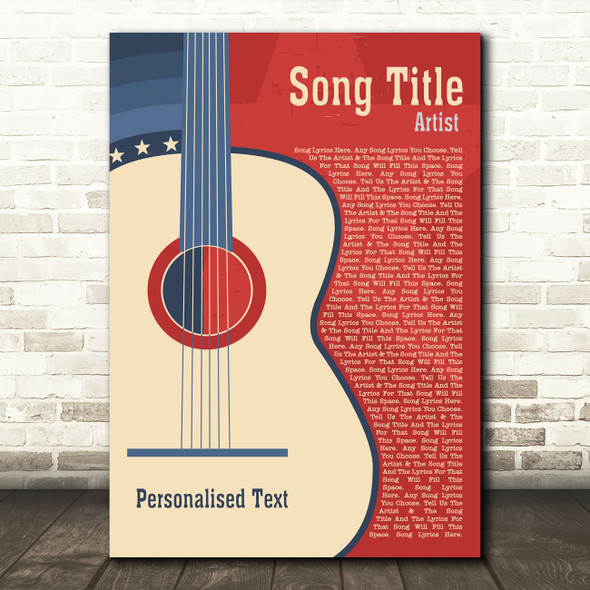 USA Red Blue Country Western Guitar Any Song Lyric Personalised Music Art Print