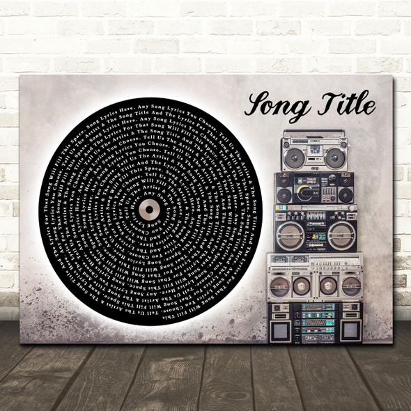 Vinyl Record & Boom Box Any Song Lyric Personalised Music Wall Art Print