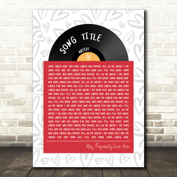 Vinyl Record In Sleeve Hearts Any Song Lyric Personalised Music Wall Art Print