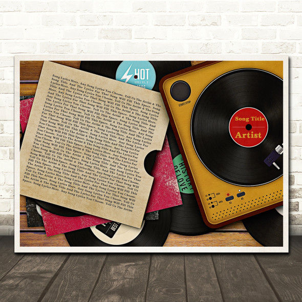 Vinyl Record Sleeve & Player Any Song Lyric Personalised Music Wall Art Print