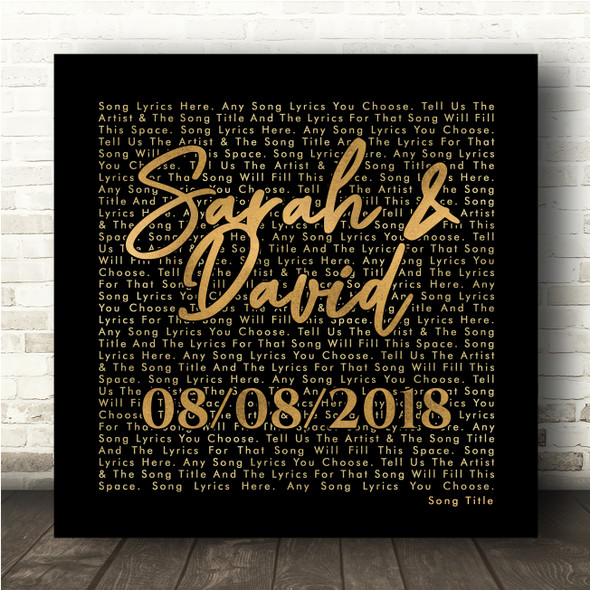 Black Gold Square Simple Script Any Song Lyric Personalised Music Wall Art Print