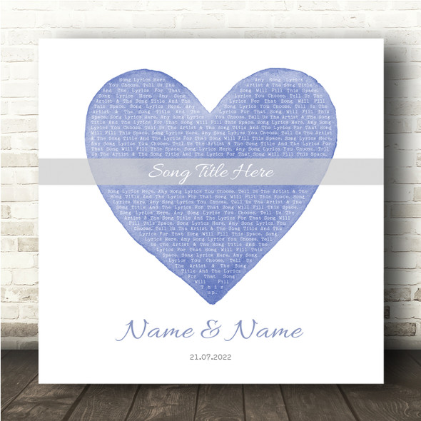 Square Blue Watercolour Heart Any Song Lyric Personalised Music Wall Art Print