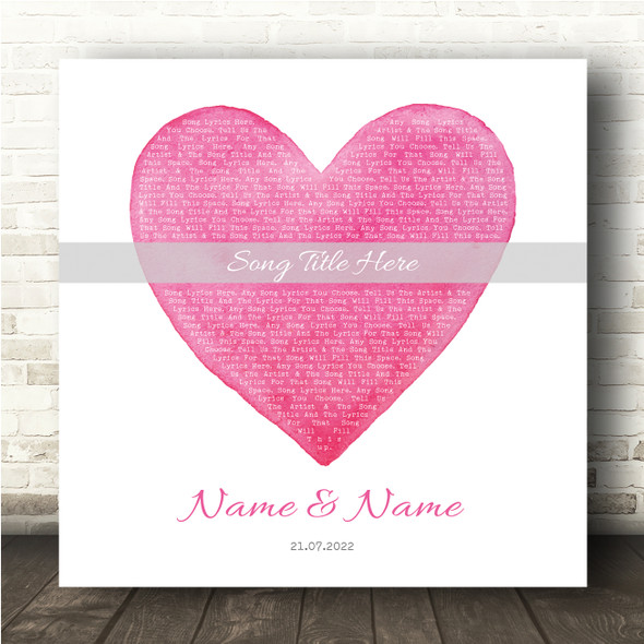 Square Pink Watercolour Heart Any Song Lyric Personalised Music Wall Art Print