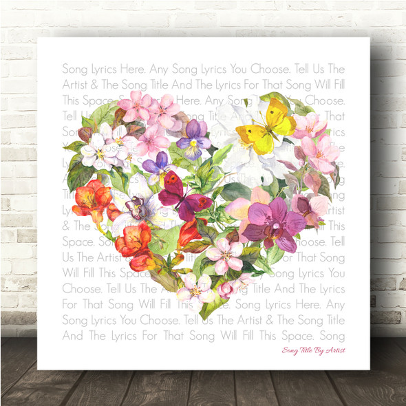 Floral Heart Square Any Song Lyric Personalised Music Wall Art Print