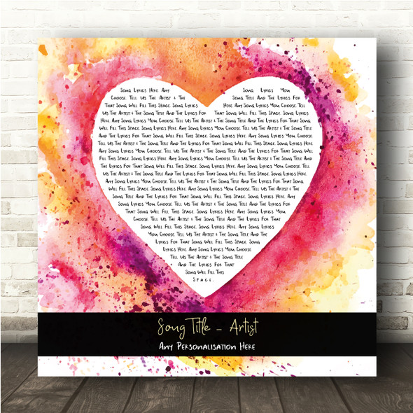 Pink Yellow Watercolour Paint Heart Square Any Song Lyric Personalised Print