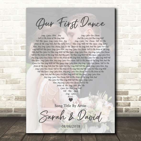 Full Page Portrait Photo First Dance Wedding Any Song Lyric Wall Art Print