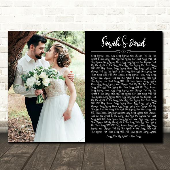 Landscape Rectangle Full Side Wedding Photo Any Song Black Lyric Wall Art Print