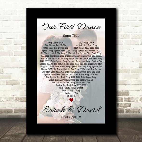 Black Border  Wedding Photo First Dance Any Song Lyric Wall Art Print