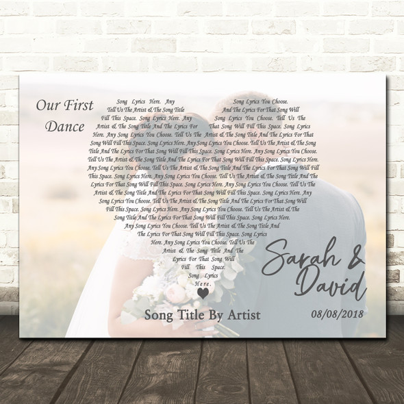 Full Page Landscape Photo First Dance Wedding Any Song Lyric Wall Art Print
