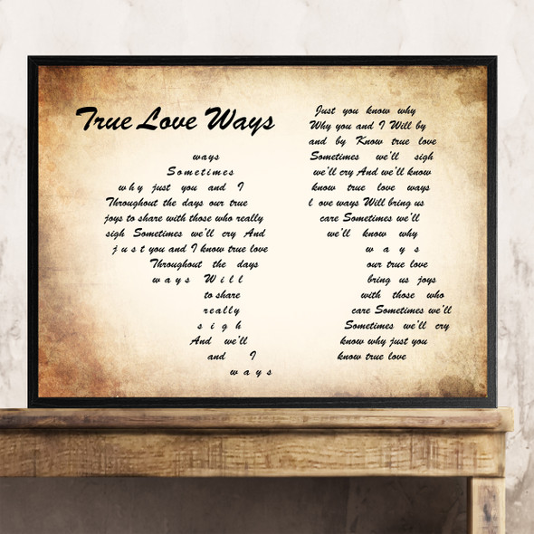 Buddy Holly True Love Ways Man Lady Couple Song Lyric Quote Print
