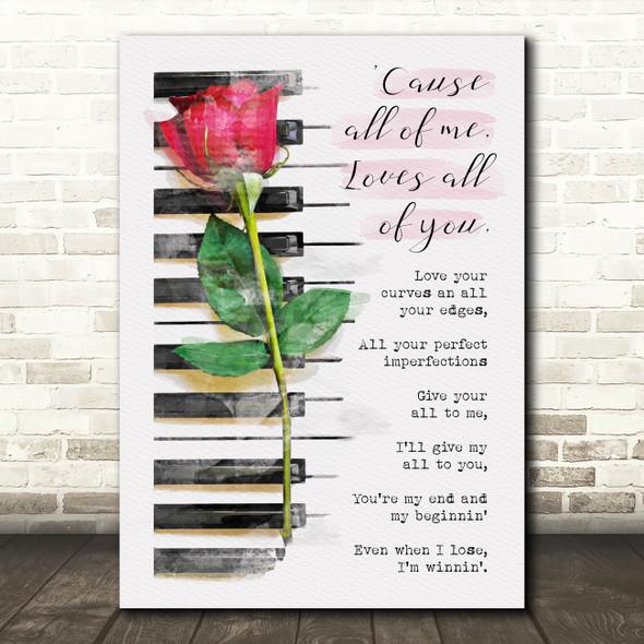 John Legend All Of Me Watercolour Rose Piano Music Song Lyric Wall Art Print