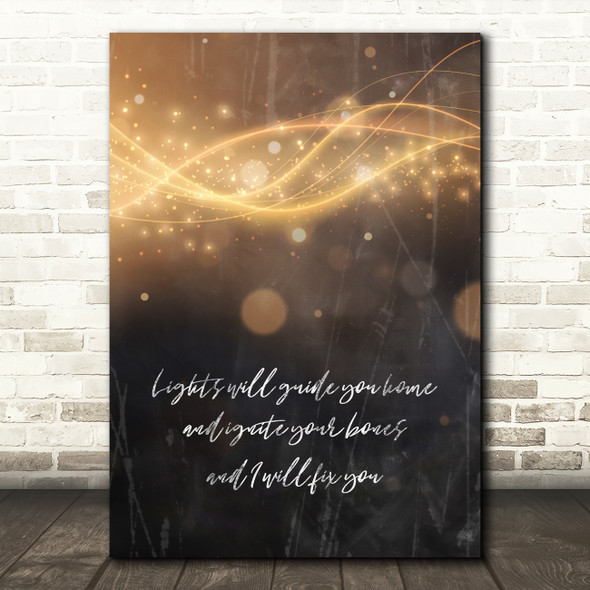 Coldplay Fix You Lights Glowing Lines Music Song Lyric Wall Art Print