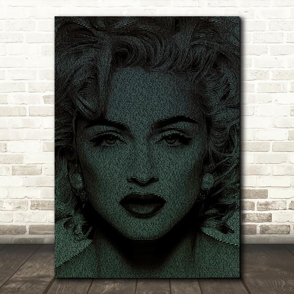 Madonna Like A Virgin Face s Green Music Song Lyric Wall Art Print