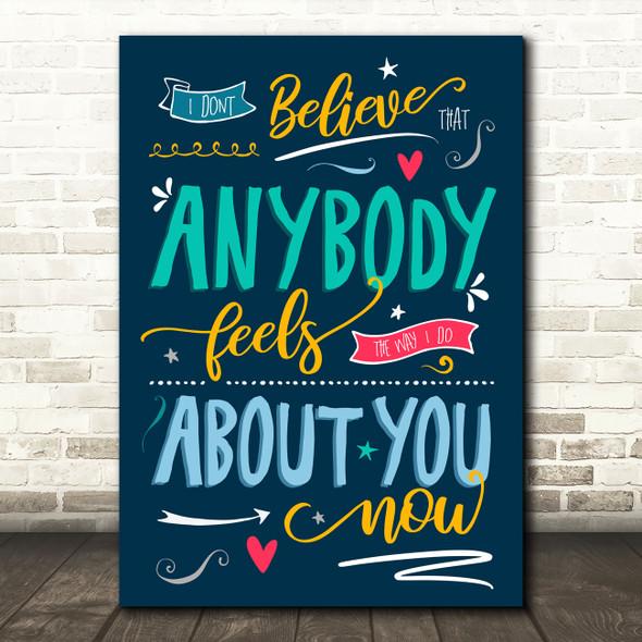 Oasis Wonderwall Blue Typography Music Song Lyric Wall Art Print