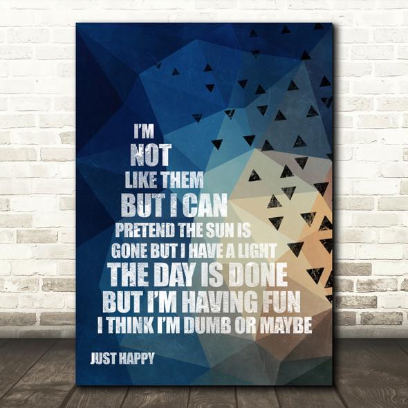 Nirvana Dumb Geometric Triangle Music Song Lyric Wall Art Print