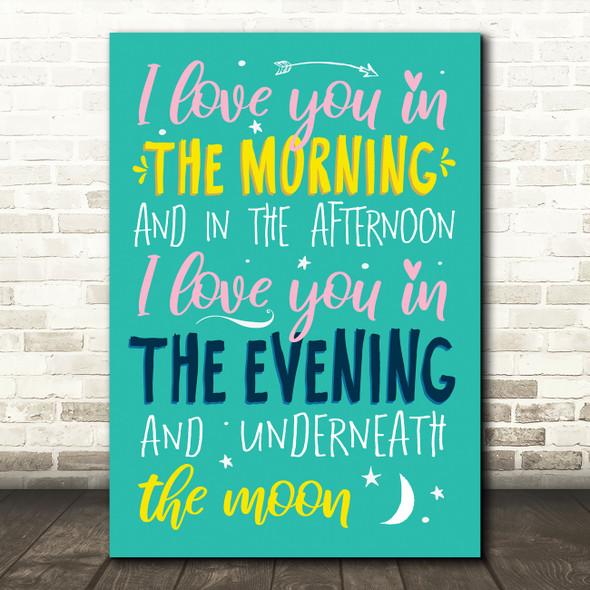 Pinkfong Skidamarink Typography Music Song Lyric Wall Art Print