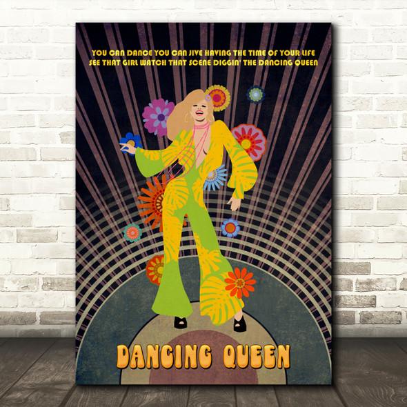 Abba Dancing Queen Blonde Girl Music Song Lyric Wall Art Print