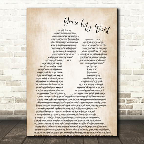 Cilla Black You're My World Man Lady Bride Groom Wedding Song Lyric Quote Print