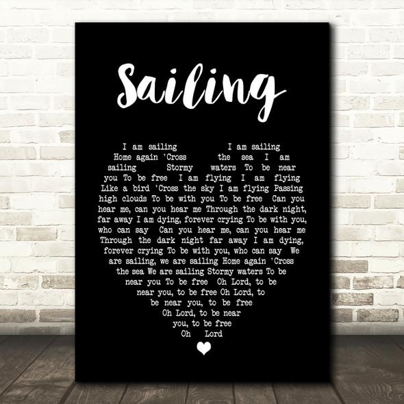 Sailing Rod Stewart Black Heart Song Lyric Quote Print
